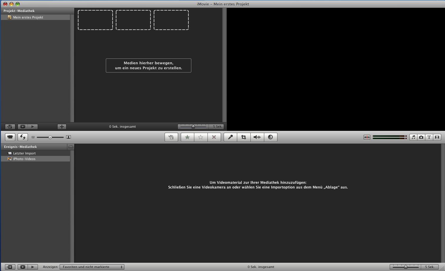 Das iMovie-Programmfenster