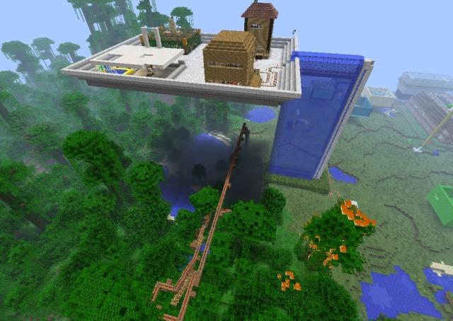 """Minecraft Gebäude auf hoch gelegener Plattform aus dem Workshop """"Spielen Lernen""""."""