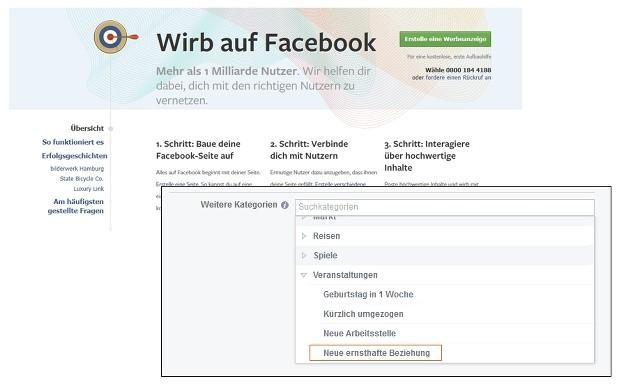 Screenshot der Werbeanzeigeneinstellungen in facebook