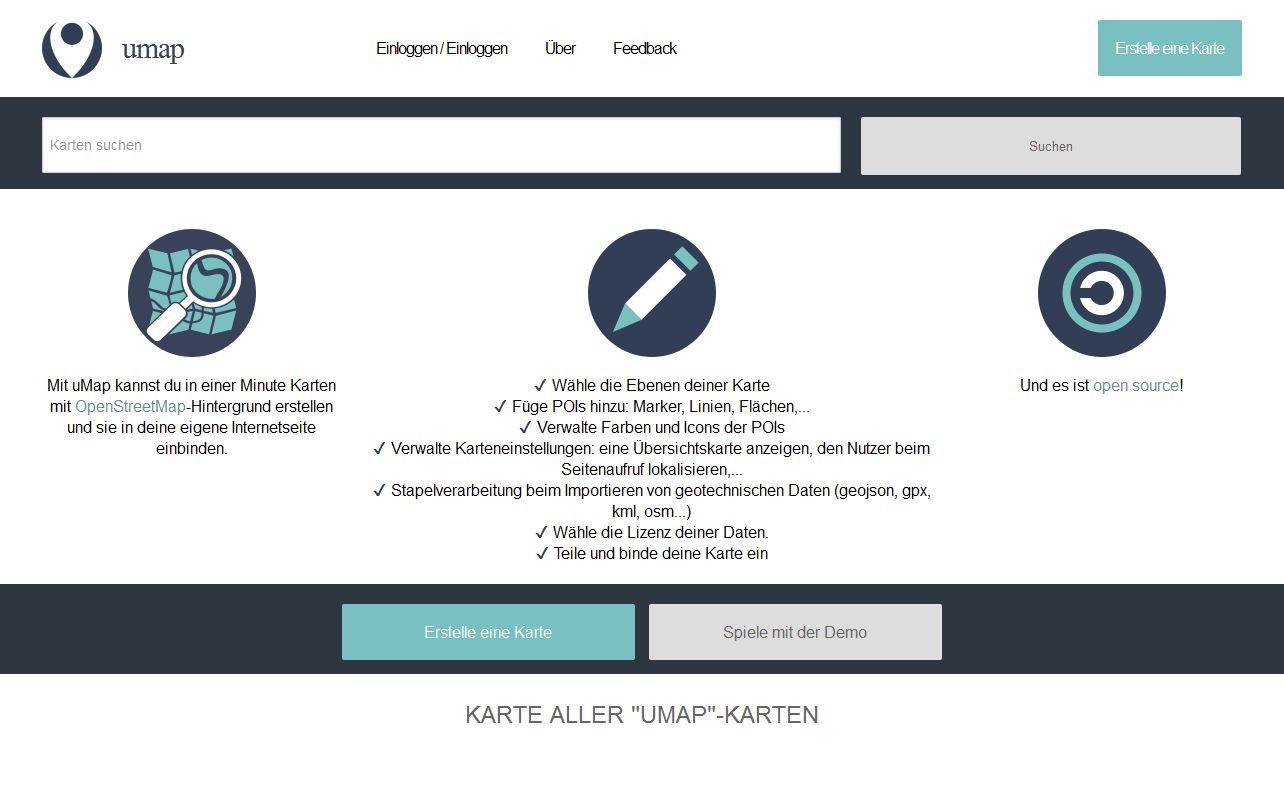 Screenshot der Seite umap.openstreetmap.fr/de/
