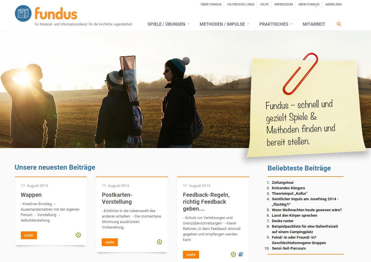 Screenshot Website fundus-jugendarbeit