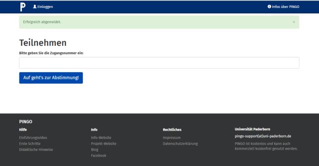 Screenshot der Teilnehmerseite