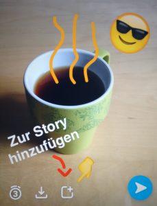 Screenshot der Erstellung eines Fotos bei Snapchat mit dem Hinweis, wo das Foto zur Story hinzugefügt werden kann