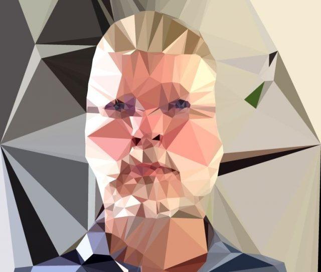 Foto von Gesicht des Autors in Polygonbild verwandelt