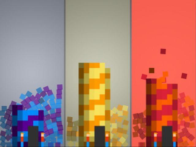 Screenshot vom Spiel 3 farbige Türme aus Würfeln zusammgesetzt