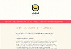 Screenshot digitalyouthwork.eu